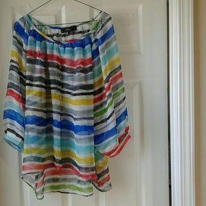 STATUS Woman's sheer blouse,size XL multi color